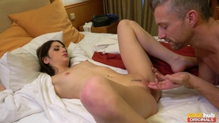 Slim brunette goes down on all fours to get a vaginal orgasm