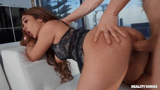 Glam babe in a tiny dress gets her ass stuffed with a dick