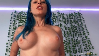 Blue-haired Jewelz Blu blows a dick and rides it POV-style