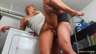 Сouple spices the laundry day with a doggy fuck on the floor
