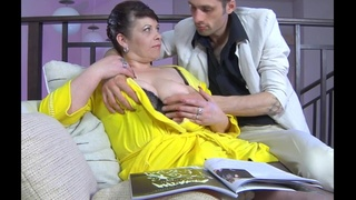 Half-naked brunette granny gets fucked in a doggy position