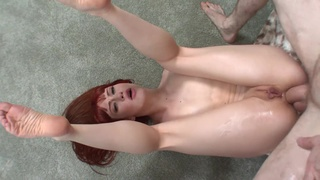 Young Brunette With Thick Pubes Anally Destroyed With Long Dick