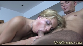 Busty milf Kristine Crystalis rubs her pussy as a big dick enters in her asshole