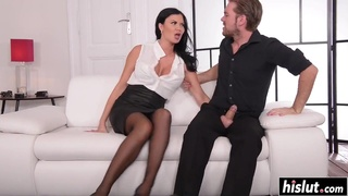 Jasmine Jae wants two cocks at once on couch
