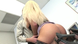 Busty blonde in corset takes sperm on her boobs