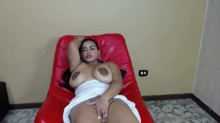 Latin hottie bares big boobs and cunt to orgasm