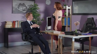 Half-naked secretary comes up to her boss for instructions