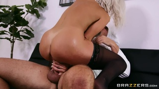 Busty blonde in stockings gets cunt licked by a chef