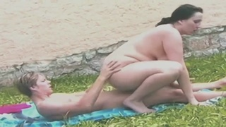 Fat ass mature brunette with big ass and big natural tits gives head outdoors
