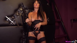 Shelly - Wank For Your Mistress - Femdom mom with saggy boobs in latex & stockings