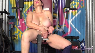 Josephine - Mature with saggy tits in topless solo workout in gym