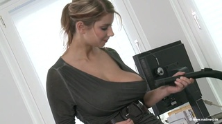 Cleaning topless bitch - Euro blonde with monster boobs solo