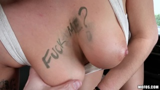 Stranded Teens - Busty Brunette Sucks Cock For Ride 1 - Big Tits