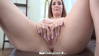 Hypnotic big titted babe wants to become a pornstar and she fucks like one