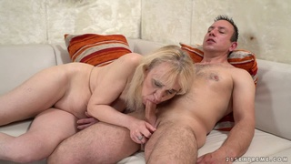 Mature dirty whore Nanney is made to ride fat cock on top