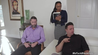 Punishing interracial threeway with HR professional Cali Caliente