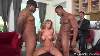 Hot wife Kayla Kayden receives several black studs for her anniversary