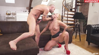 Deep anal sex for a pierced blonde while she plays dominant