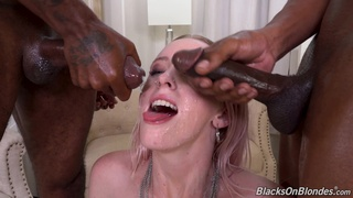 MILF gets blacked in a rough threesome at home