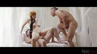 Redhead gets shared by two men and jizzed on her big tits