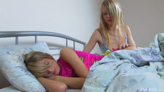 Step sisters share the bed for the ultimate pussy romance
