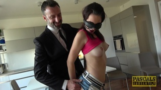 Blindfolded cutie Elena Vega gets her ass fucked during rough torture
