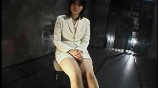 Secretary in the dungeon talks and is tied up